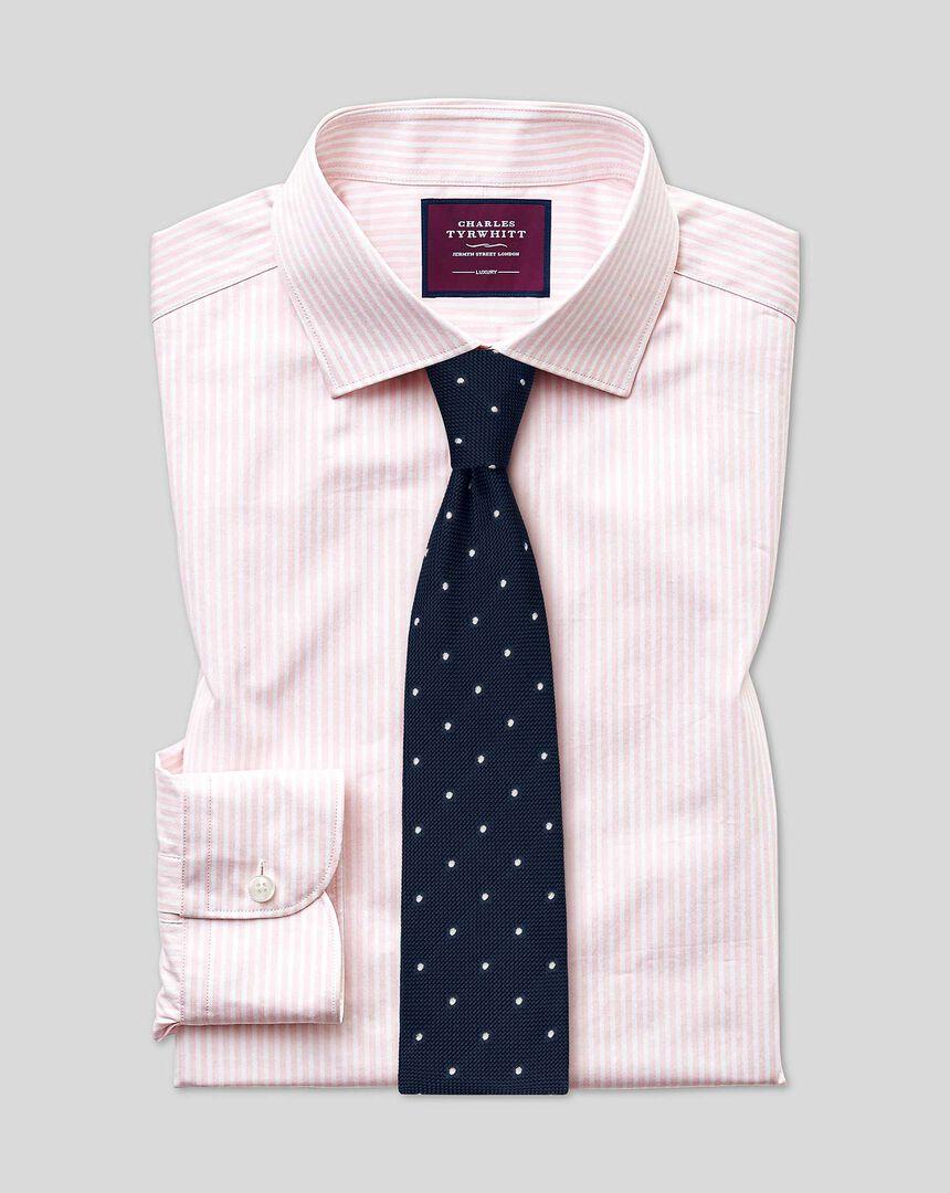 Semi-cutaway Collar Luxury Stripe Shirt- Pink