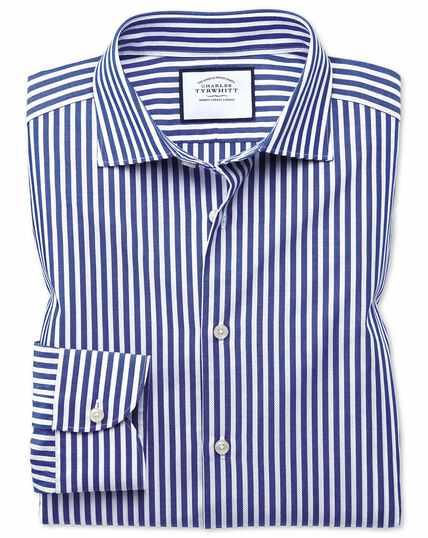 Business-Casual Slim Fit Hemd mit Dreherstruktur und Streifen in Blau & Weiß