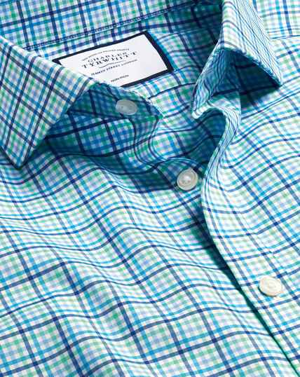 Spread Collar Non-Iron Tyrwhitt Cool Poplin Check Shirt - Blue & Green