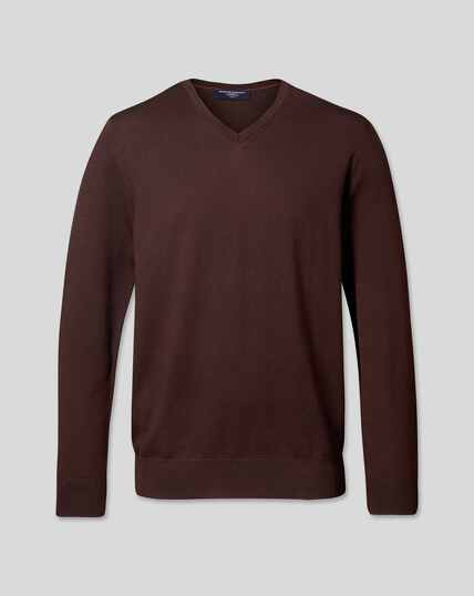 Merino V-Neck Jumper - Dark Brown