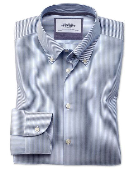 Chemise business casual bleue à rayures extra slim fit sans repassage à col boutonné