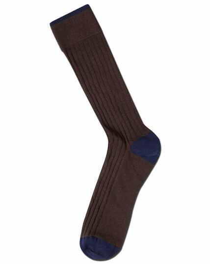 Chaussettes marron en coton côtelé