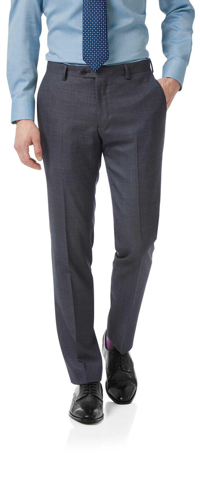 Airforce blue slim jaspe business suit