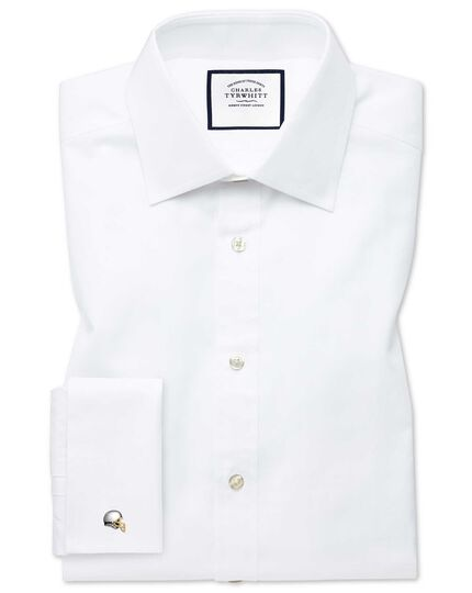 Extra slim fit white fine herringbone shirt