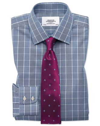Slim fit non-iron Prince of Wales navy blue and white shirt