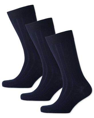 Navy wool rich 3 pack socks