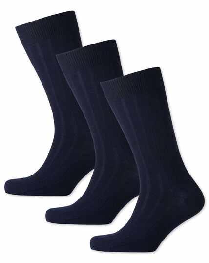 Lot de 3paires de chaussettes bleu marine en laine majoritaire