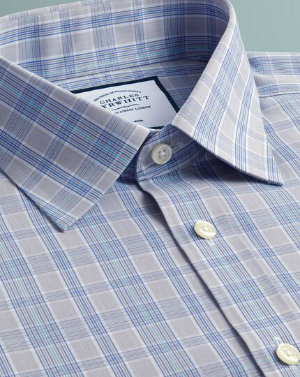Extra slim fit non-iron Prince of Wales grey and aqua shirt