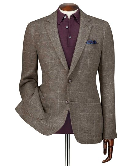 Slim fit brown check modern wool blazer