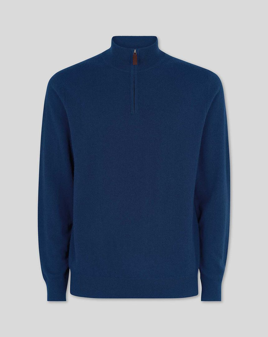 Cashmere Zip Neck Sweater - Navy