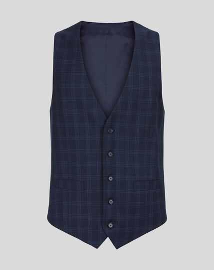 Check Birdseye Travel Suit Waistcoat - Navy
