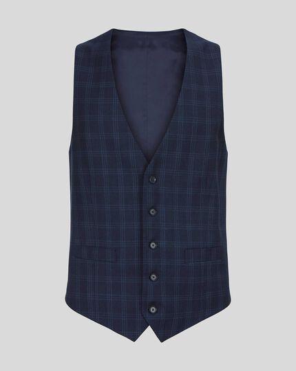 Check Birdseye Travel Suit Vest - Navy