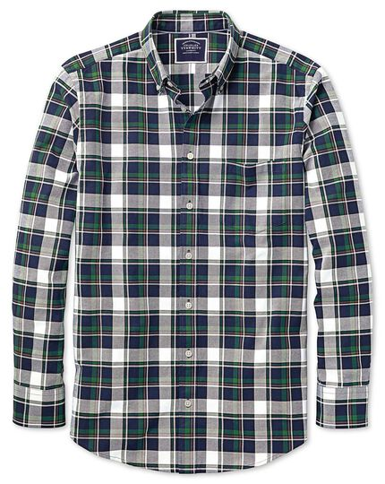 Vorgewaschenes Slim Fit Oxfordhemd mit großem Karomuster in Marineblau und Grün