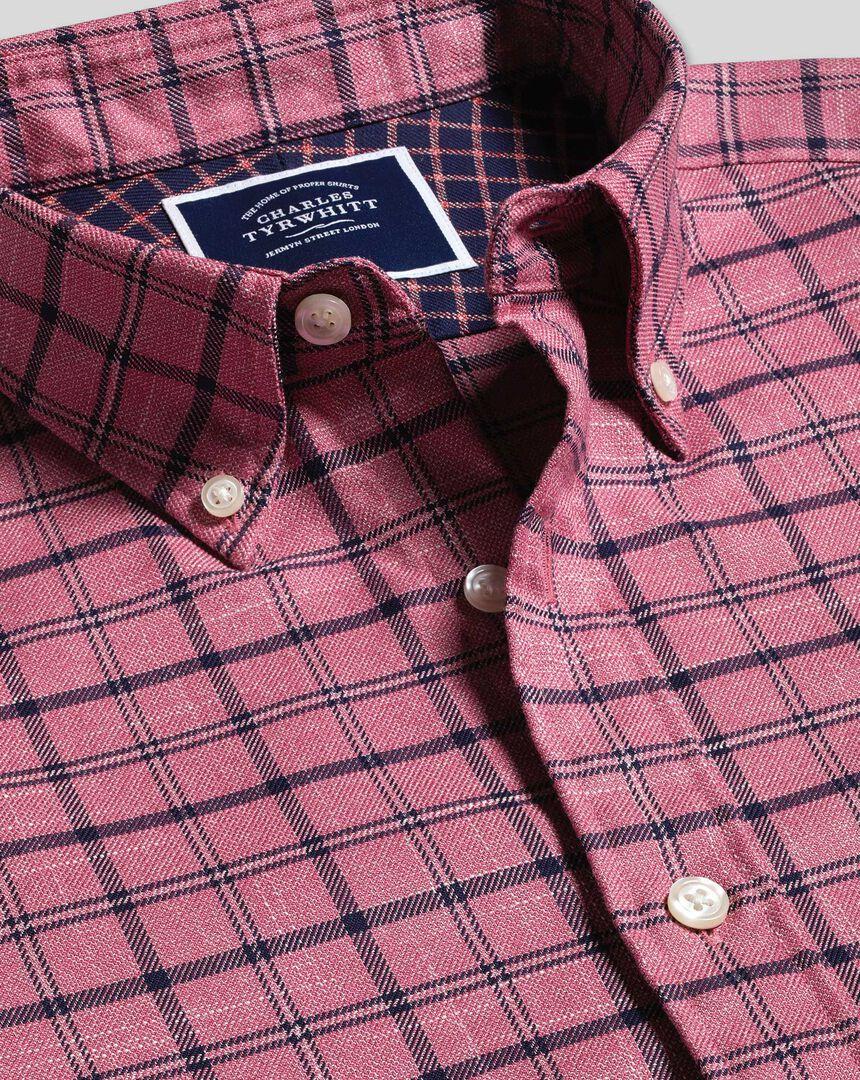Button-Down Collar Non-Iron Twill Overcheck Shirt - Pink & Navy