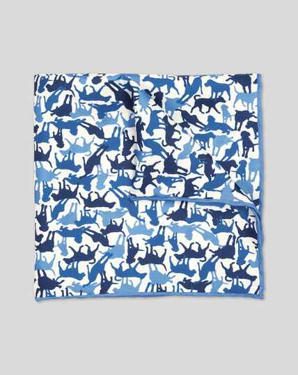 Dog Print Pocket Square - Blue