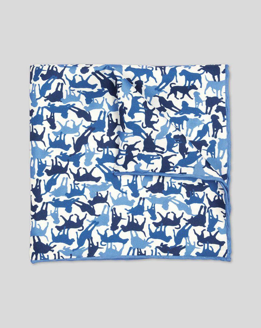 Dog Print Pocket Square - Blue