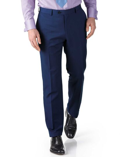 Royal blue slim fit twill business suit trouser