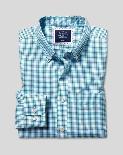 Button-Down Collar Non-Iron Stretch Oxford Gingham Shirt - Green Multi