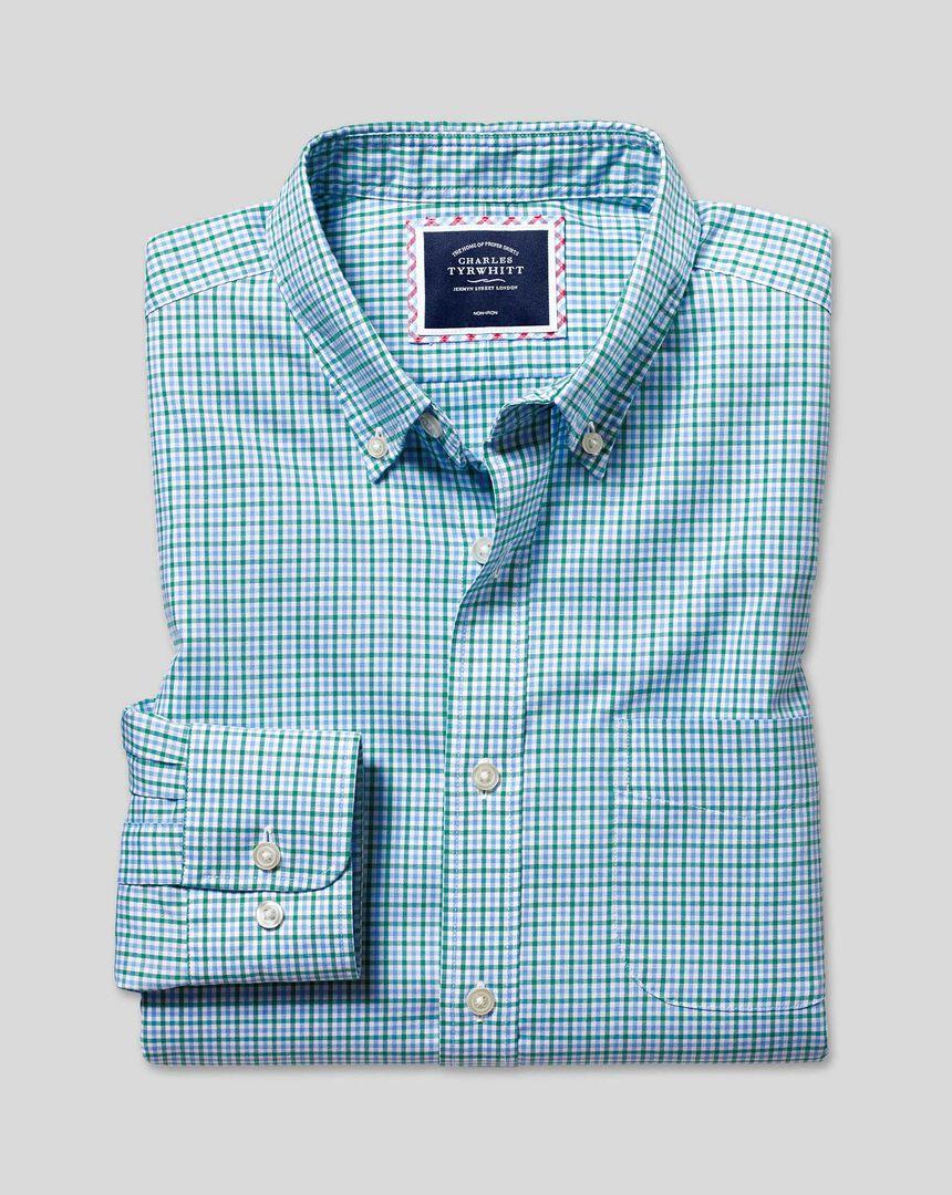 Bügelfreies Oxford Hemd aus Stretchgewebe mit Button-down-Kragen und bunten Gingham-Karos - Grün