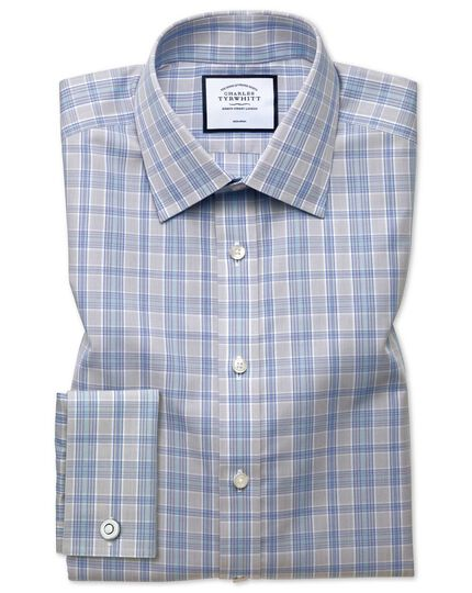 Classic fit non-iron Prince of Wales grey and aqua shirt