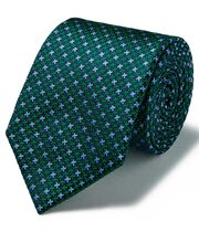 Green silk three colour puppytooth stain resistant tie