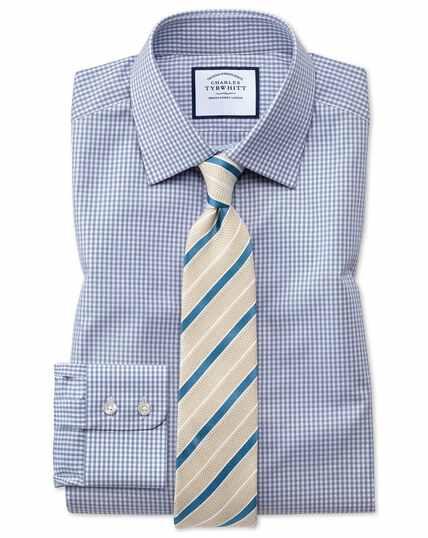 Chemise grise coupe droite à petits carreaux vichy