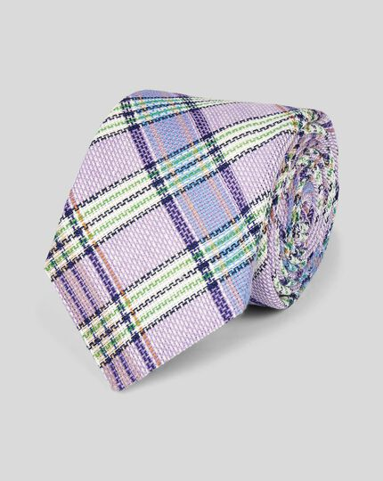 Check Linen Italian Craft Luxury Tie - Lilac Multi