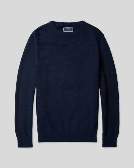 Cotton Crew Neck Sweater - Navy