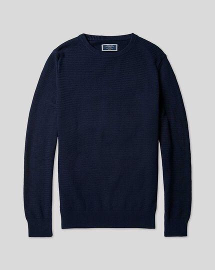 Pull en coton à col rond - Bleu marine