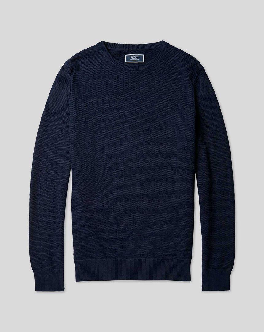 Cotton Crew Neck Sweater - Navy