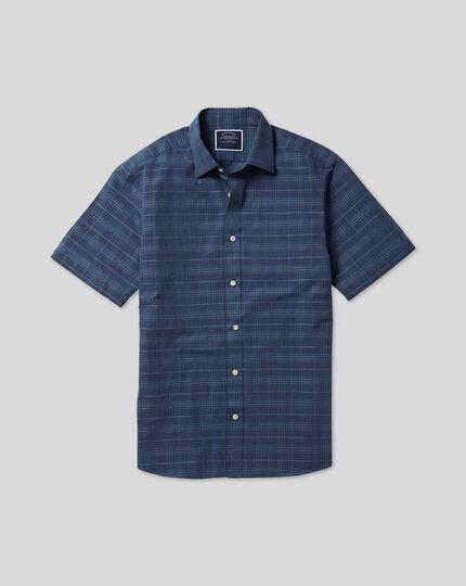 Kurzarmhemd mit Kent Kragen und Ton-in-Ton-Karos - Marineblau