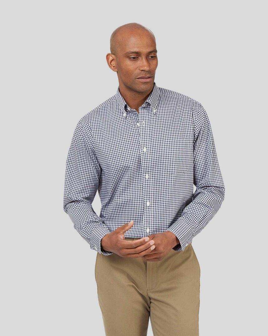 Vorgewaschenes bügelfreies Popeline-Hemd aus Stretchgewebe mit Button-down-Kragen und Karos - Marineblau
