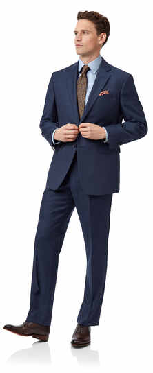 Blue classic fit twill business suit