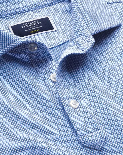 Light blue and white birdseye polo