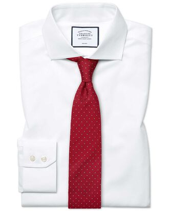 Extra slim fit cutaway non-iron poplin white shirt