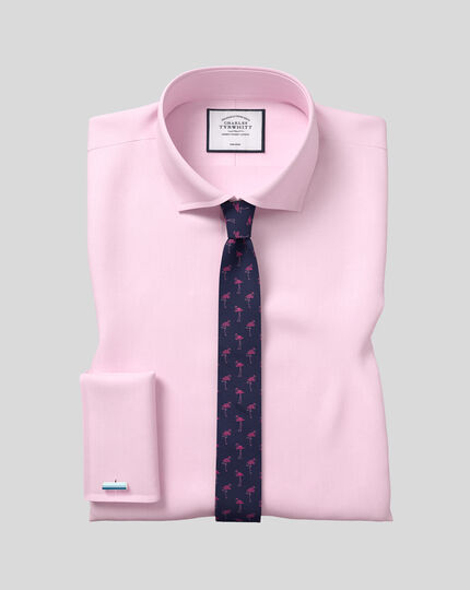 Flamingo Silk Slim Motif Tie - Navy