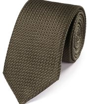 Brown silk grenadine Italian luxury tie