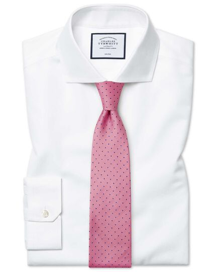 Bügelfreies Super Slim Fit Twill-Hemd in Weiß