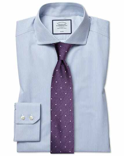 Hemelsblauw strijkvrij overhemd van zachte keperstof met cut-awaykraag, slanke pasvorm