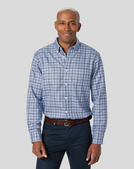 Button-Down Collar Soft Washed Non-Iron Twill Check Shirt - Sky & Navy