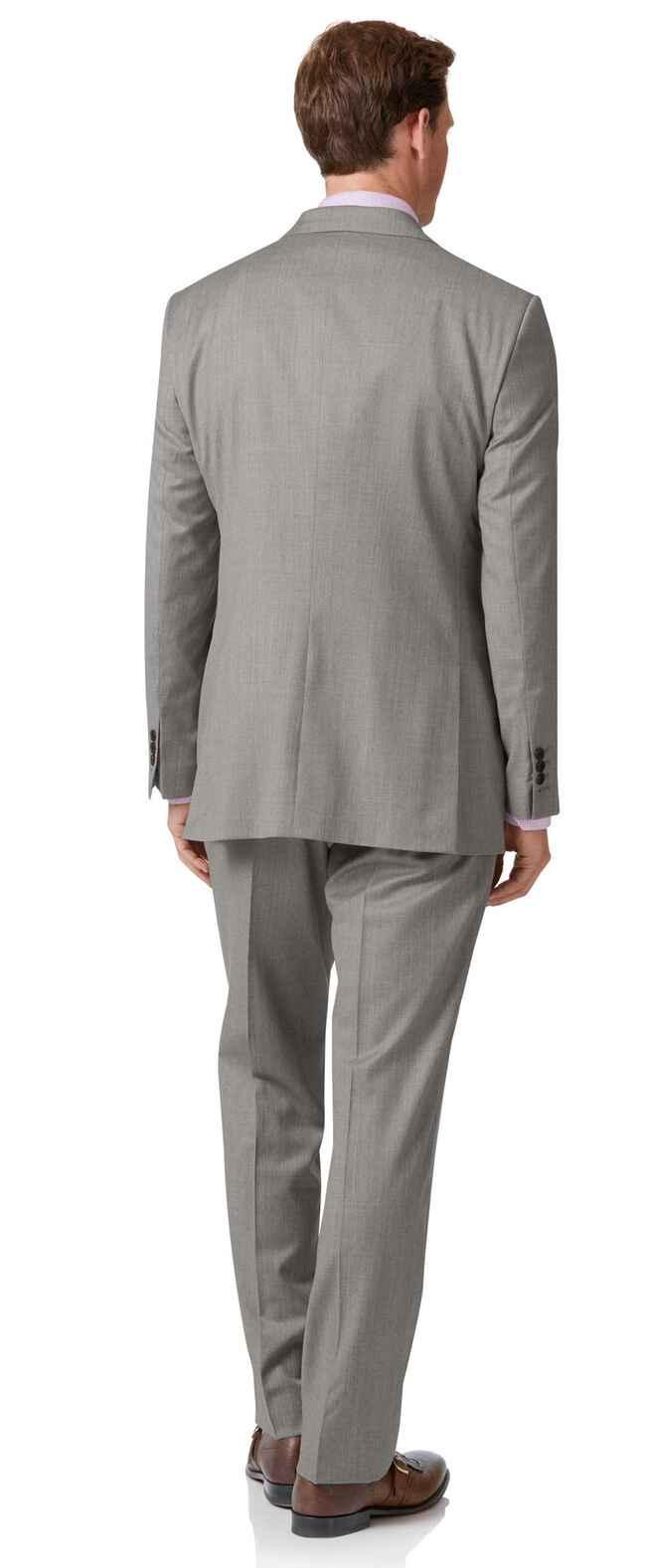 Costume argent en tissu italien coupe droite