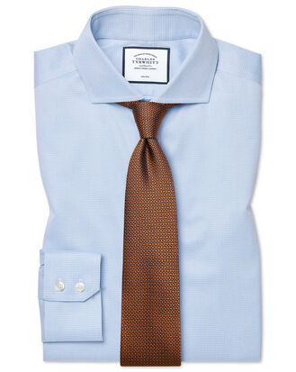 Slim fit cutaway non-iron puppytooth sky blue shirt