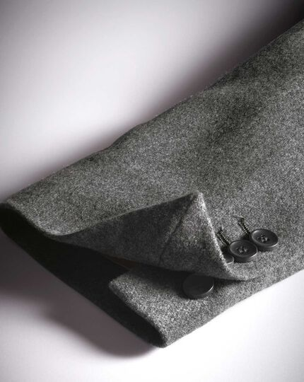 Slim fit grey plain wool flannel blazer