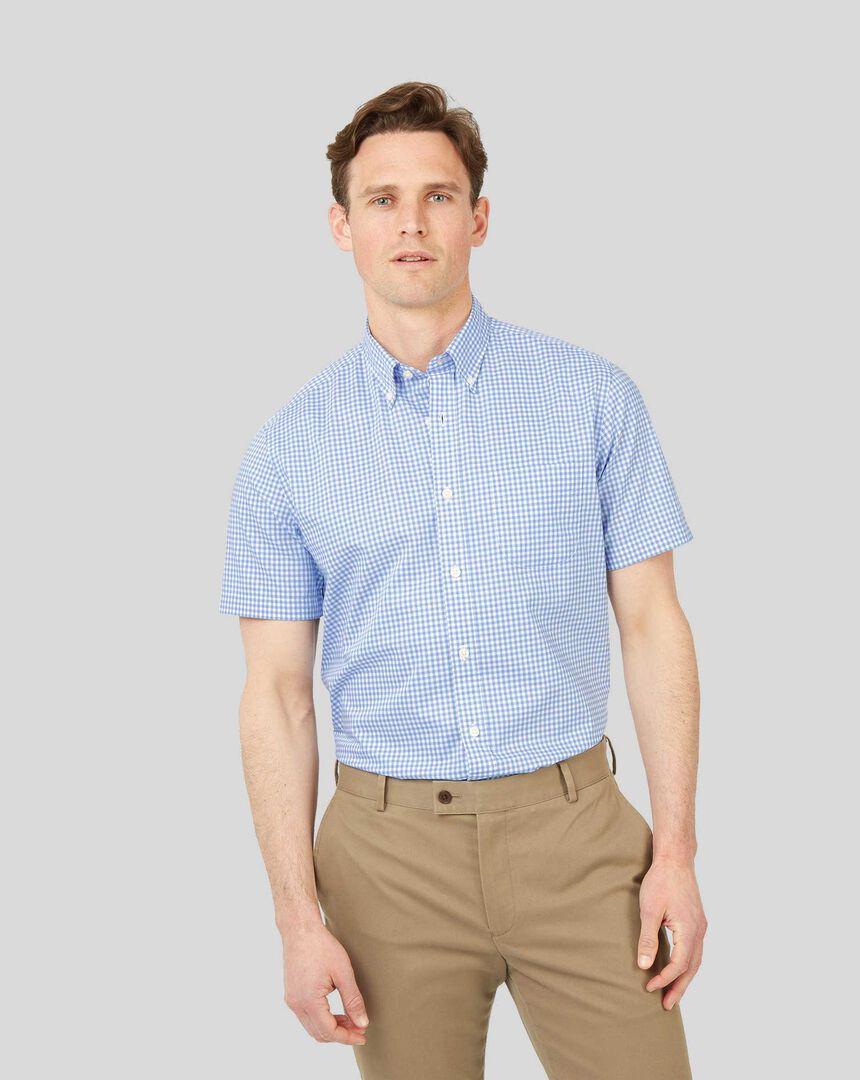 Button-Down Collar Non-Iron Stretch Poplin Gingham Short Sleeve Shirt - Sky