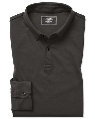 Langärmeliges, einfarbiges Jersey-Polohemd in Anthrazit