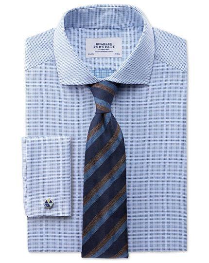 Extra slim fit cutaway collar Egyptian cotton textured blue shirt