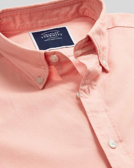 Oxfordhemd mit Button-down-Kragen - Korallenrot