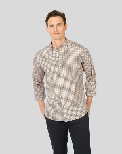 Button-Down Collar Non-Iron Stretch Poplin Check Shirt - Mustard & Navy
