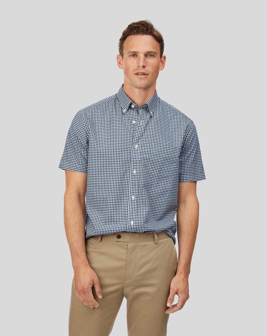 Vorgewaschenes Popeline-Kurzarmhemd mit Button-down-Kragen und Karos - Marineblau