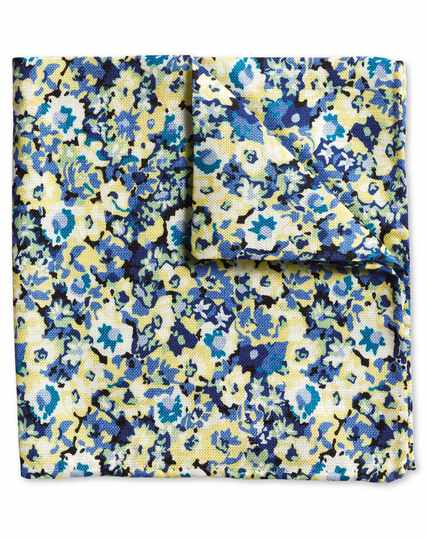 Yellow multi floral cotton silk print pocket square